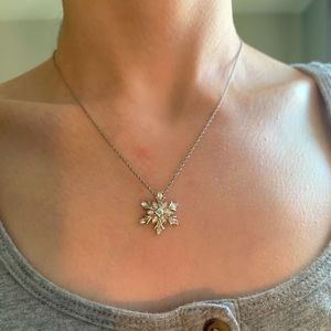 CZ & Sterling Silver Snowflake Necklace